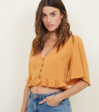Cameo Rose Mustard Button Front Frill Crop Blouse