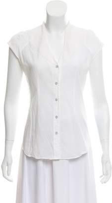 Helmut Lang Cap Sleeve Button-Up Top
