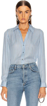 L'Agence Nina Blouse in Sky Blue Multi Stripe | FWRD