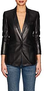 Women's Leather One-Snap Blazer - Black