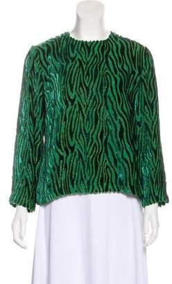 Dries Van Noten Velvet-Trimmed Long Sleeve Top