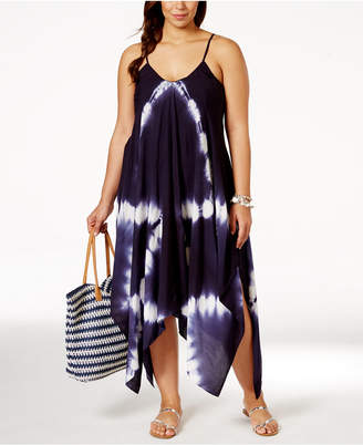 Raviya Plus Size Tie-Dye Handkerchief-Hem Cover-Up Dress $58 thestylecure.com