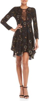 A.L.C. Black Cynthia Floral Print Long Sleeve Dress