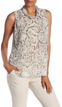 Modern American Designer Snake Print Sleeveless Blouse