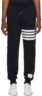 Thom Browne Navy 4-Bar Classic Lounge Pants