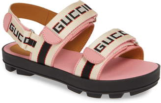 6c63a592f86 Gucci Sam Logo Strap Slingback Sandal