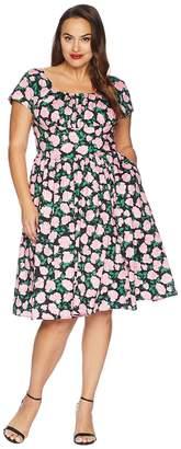 Unique Vintage Plus Size Cap Sleeve Valencia Swing Dress Women's Dress