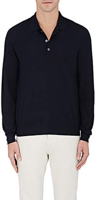 Brioni Men's Wool-Blend Long-Sleeve Polo Shirt - Navy