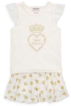Juicy Couture Little Girl's Two-Piece Printed Top and Skirt Set