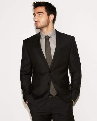 Express Slim Charcoal Check Wool Suit Jacket