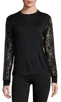 Floral Lace-Sleeve Tee