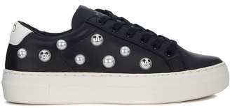 M.O.A. Master Of Arts Moa Mickey Mouse Black Leather Sneaker With Pearls