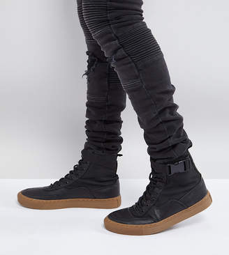 Asos Wide Fit High Top Sneaker Boots In Black With Gum Sole