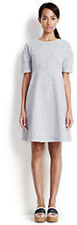 Lands' End Women's Elbow Sleeve Dress-White Dahlia Painted Print $150 thestylecure.com