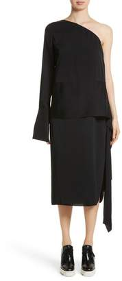 Stella McCartney One-Shoulder Draped Cady Dress