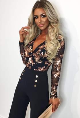 Pink Boutique Luxury Merritt Navy and Rose Gold Sequin Bodysuit