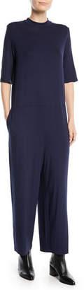 Eileen Fisher Half-Sleeve Mock-Neck Jersey Jumpsuit