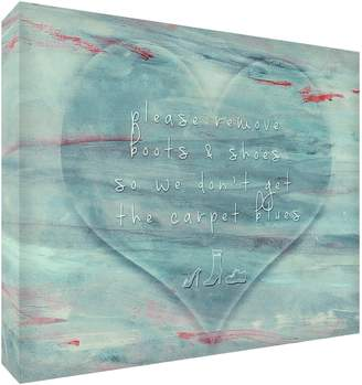 Camilla And Marc Feel Good Art Please Remove Your Boots and Shoes Gallery Wrapped Box Canvas with Solid Front Panel (30 x 20 x 4 cm Small