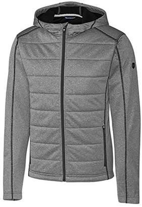 Cutter & Buck Men's Weathertec Jersey Bonded Fleece Altitude Quilted Hood Jacket