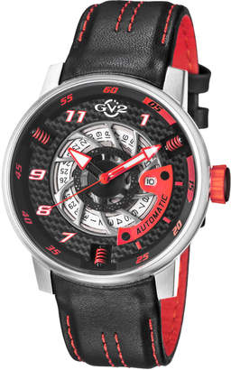 Gv2 Men's Automatic-Self-Wind Motorcycle Sport Black Leather Strap Watch