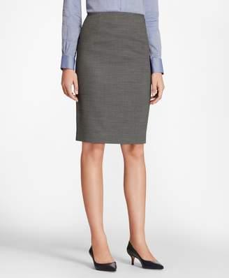 Brooks Brothers Bird's-Eye Stretch-Wool Pencil Skirt