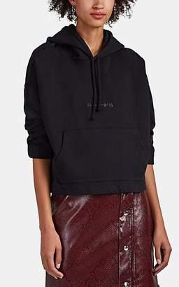 Acne Studios Women's Logo Cropped Cotton Hoodie - Black