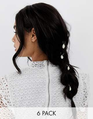 Asos Design DESIGN hair rings with shell charms in gold