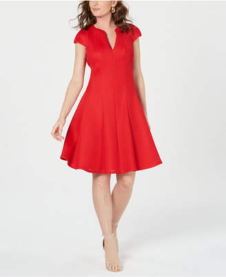 Julia Jordan Cap-Sleeve Mesh Fit & Flare Dress