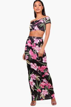 boohoo Floral Crop & Maxi Skirt Co-ord Set