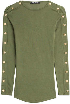 Balmain Wool Pullover with Embossed Buttons
