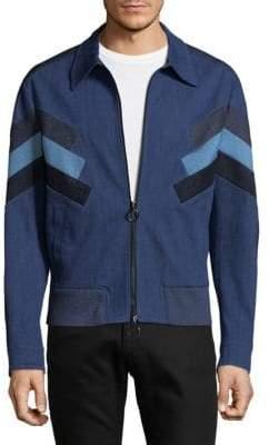 Neil Barrett Modernist Colorblock Denim Bomber Jacket