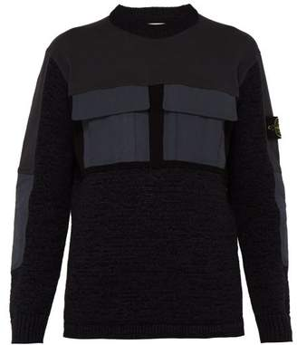 Stone Island Mixed Fabric Tech Pocket Knitted Sweater - Mens - Multi