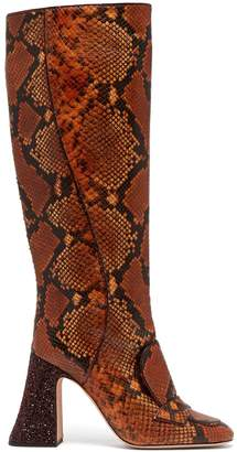 Pascal Glitter Heel Faux Python Knee High Boots - Womens - Brown Multi