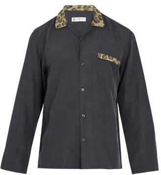 Cobra S.C. Cobra S.c. - Contrast Leopard Jacquard Panelled Silk Shirt - Mens - Multi