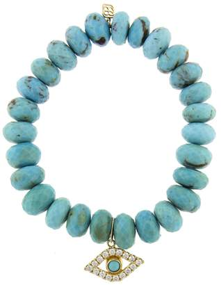 Sydney Evan Extra Large Bezel Evil Eye Charm On Turquoise Beaded Bracelet