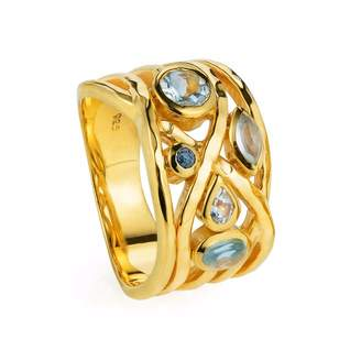 Lapis Neola - Liana Gold Ring Aquamarine Blue Topaz and Lazuli