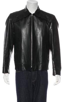 CNC Costume National Collared Leather Jacket