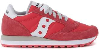 Saucony Jazz Red Suede And Nylon Sneaker