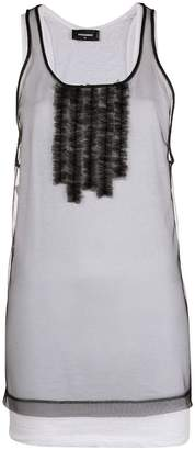 DSQUARED2 sheer frill-embroidered tank top