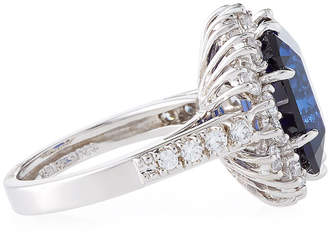 FANTASIA Large Cubic Zirconia Cocktail Ring, Blue