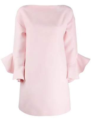 Valentino Ruffle Trim Crepe Dress