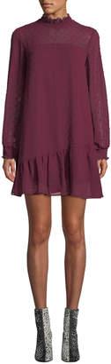 Kensie Crinkle Dot Mini Sheath Dress with Smocking and Ruffle Trim