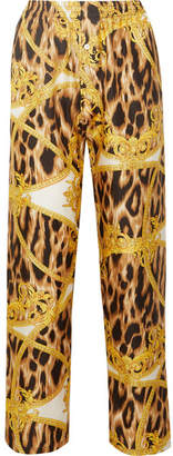 Versace Printed Silk-twill Pajama Pants - Shiny gold