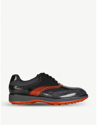 Prada Mesh-detail leather Oxford brogues