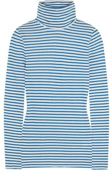 J.Crew - Tissue Striped Cotton-jersey Turtleneck Top - Blue