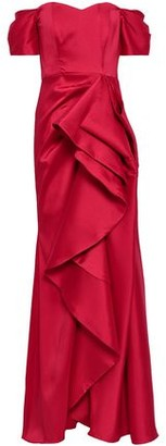 Badgley Mischka Off-the-shoulder Ruffled Satin-faille Gown
