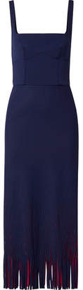 Dion Lee Cutout Two-tone Neoprene Midi Dress - Navy