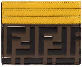 Fendi FF logo-print leather card holder