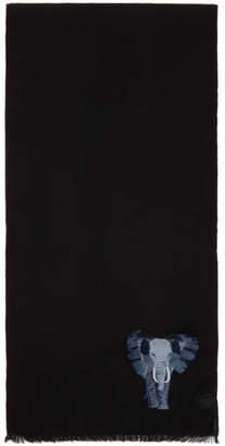 Paul Smith Black Elephant Embroidery Scarf