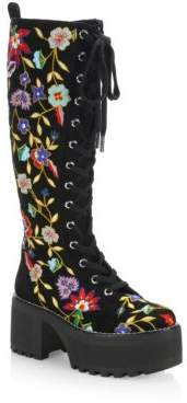 Alice + Olivia Embroidered Leather Boots